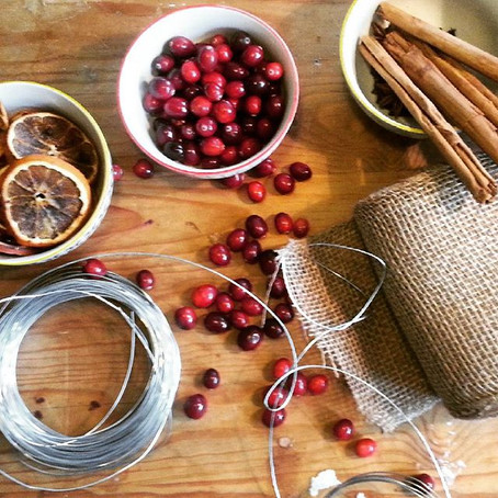Homemade cranberry and cinnamon decorations