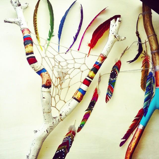 Instagram - #sticks #feathers #paint #string #quartz #boho #bohemian #creation