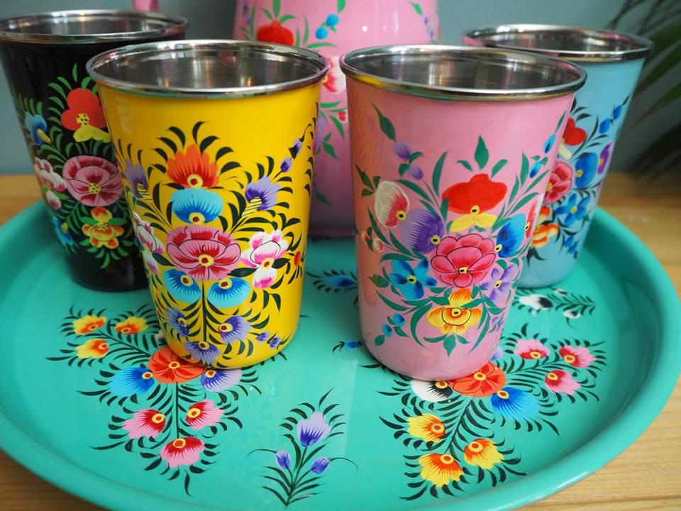 handpainted enamelware tumblers boho