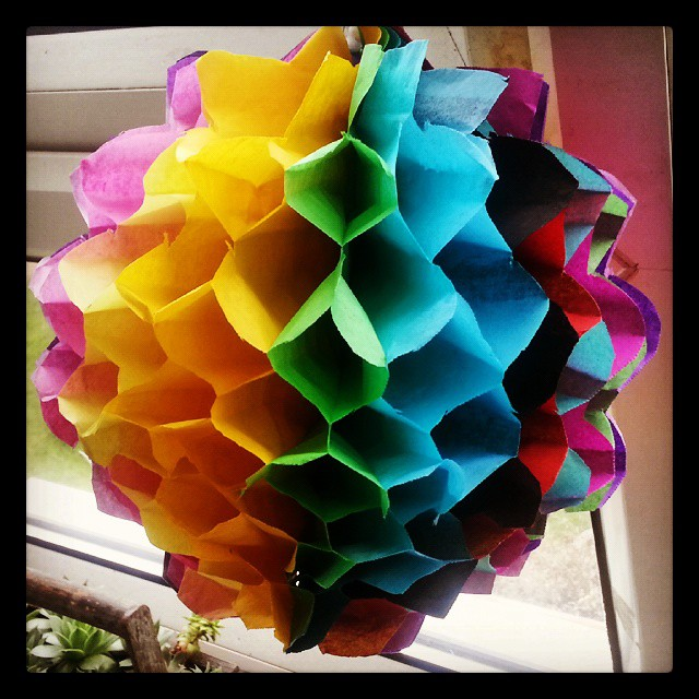 Instagram - Took ages but at least I now know how to make them #honeycomb #decoration #ball #rainbow #DIY