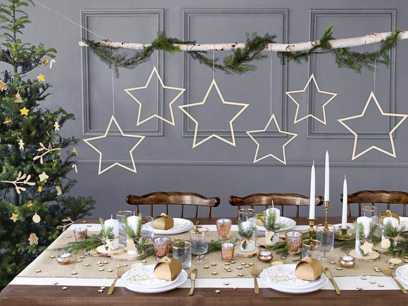 Wooden star christmas decorations