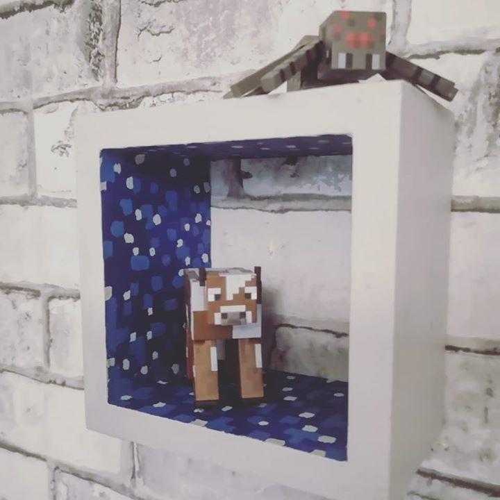 DIY painted Minecraft block shelf - Lapis Lazuli