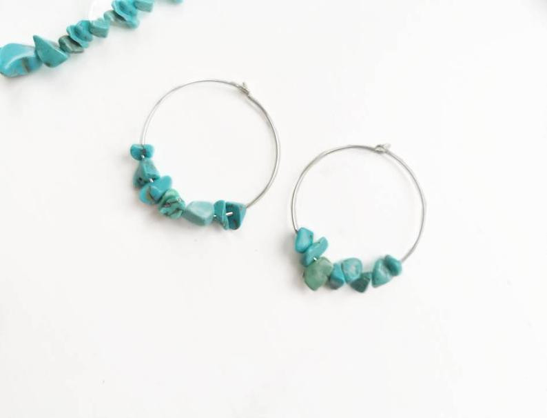 Silver and turquoise hoop chip earrings