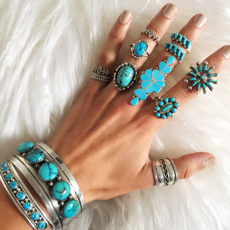 Turquoise and silver Navajo rings