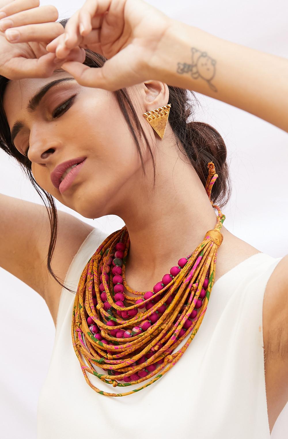 Jewelled Buddha sari necklaces