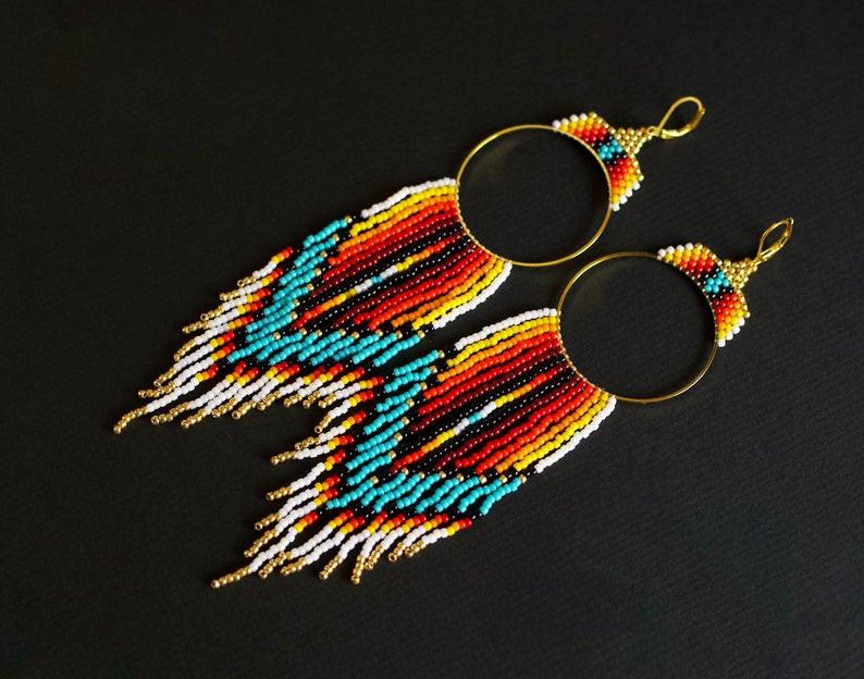 Seed beaded ethnic earrings