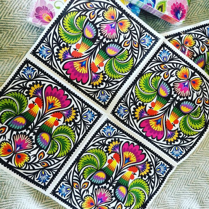 Decorated staircase decoupage Polish folk napkins