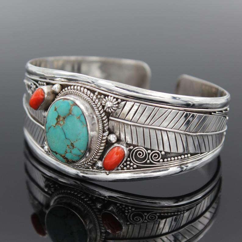 Turquoise coral and silver cuff bracelet
