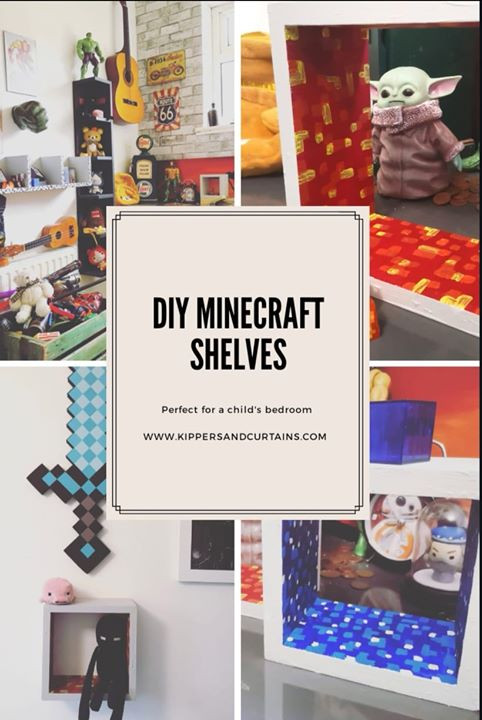 DIY painted Minecraft shelves