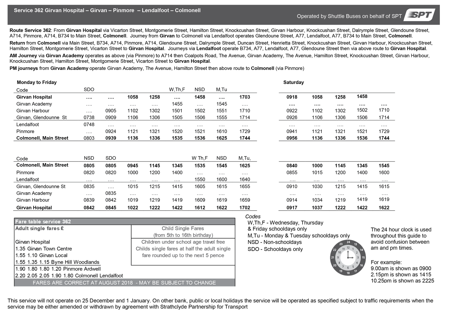 362 Timetable