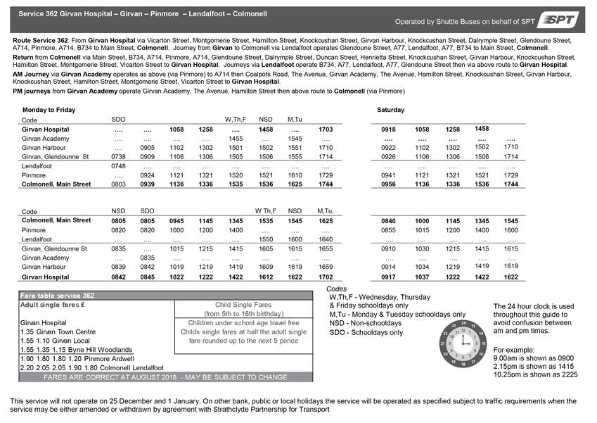 362 Timetable