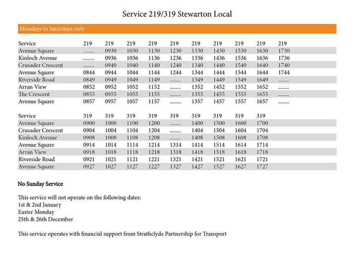 219/319 Timetable