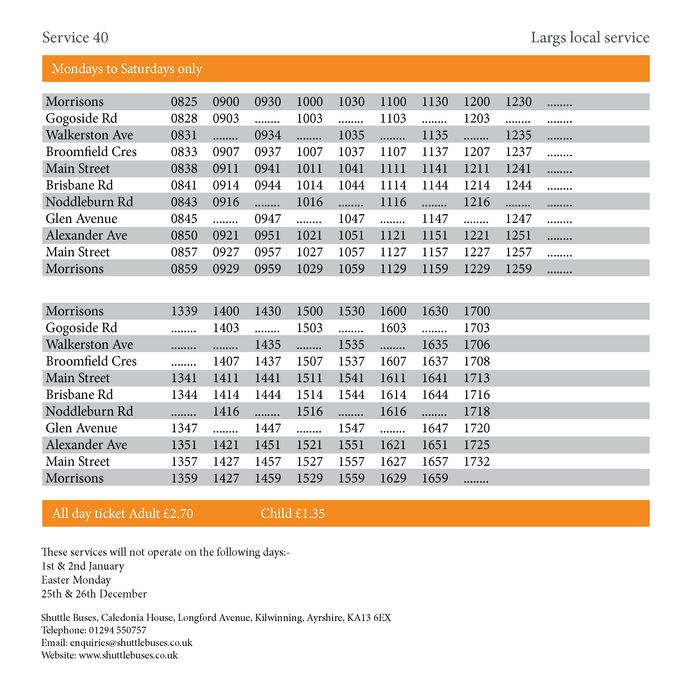 Service 40 Timetable