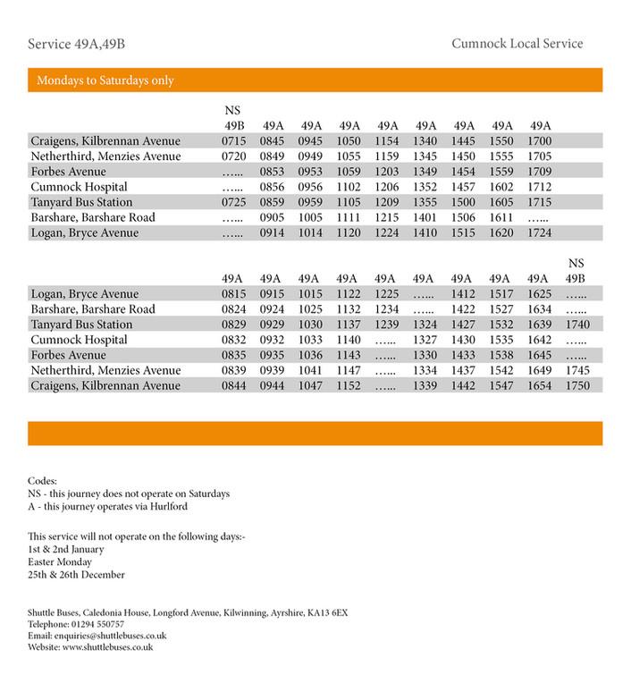 Service 49A/49B Timetable