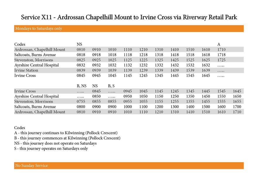 Service X11 Timetable