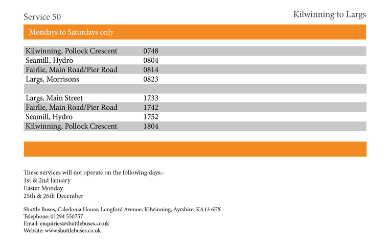 Service 50 Timetable
