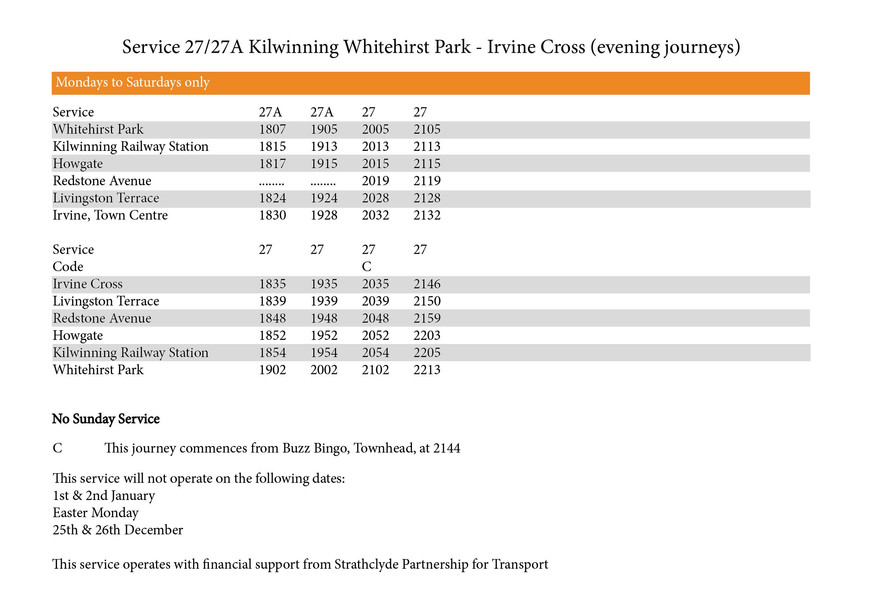 27/27A Timetable