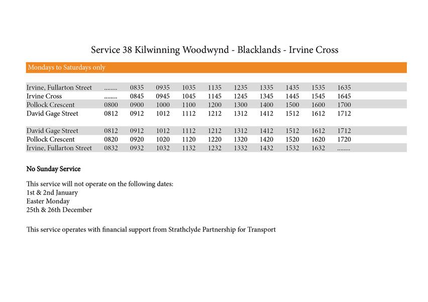 38 Timetable