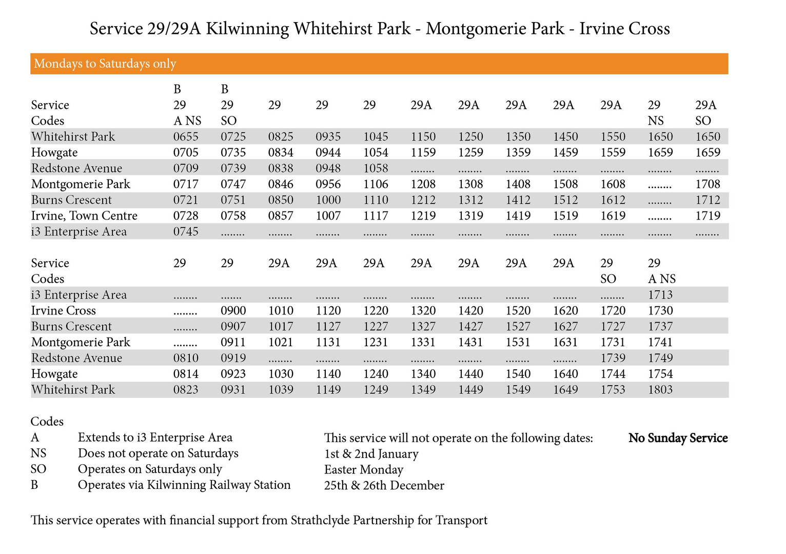 29/29A Timetable
