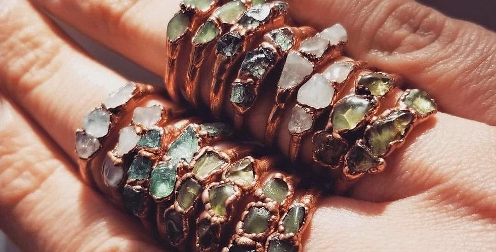 Pre-order Triple Stone Copper Ring