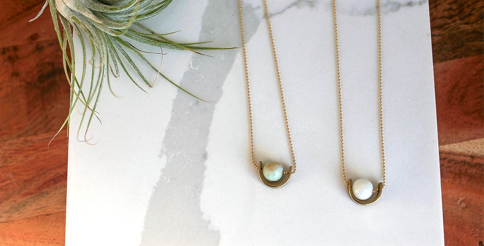 Minimal Brass Half Circle Necklace with Gem