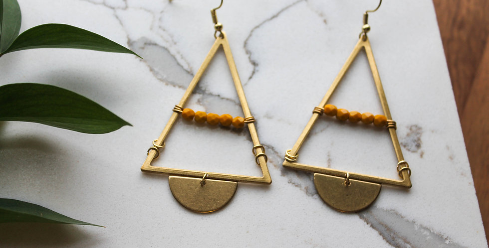 No. 191 Brass Triangle and Mustard Bead Earrings