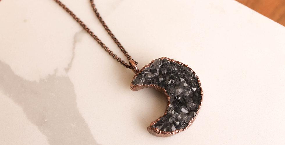 Purple Druzy Moon Necklace