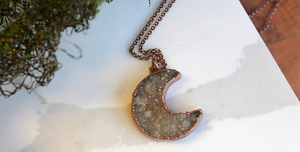 No. 112 Large Druzy Moon Copper Necklace