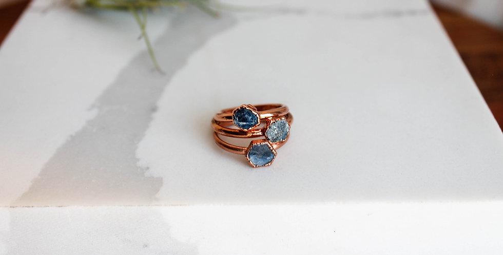 Single Raw Sapphire Copper Ring