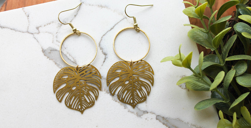 No. 192 Monstera Leaf Earrings