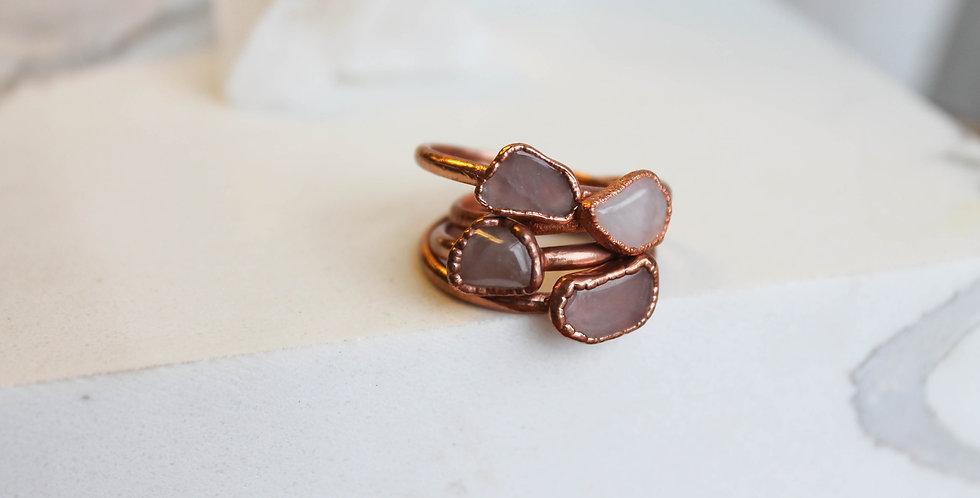 Pre-order Rose Quartz Copper Electroformed Ring