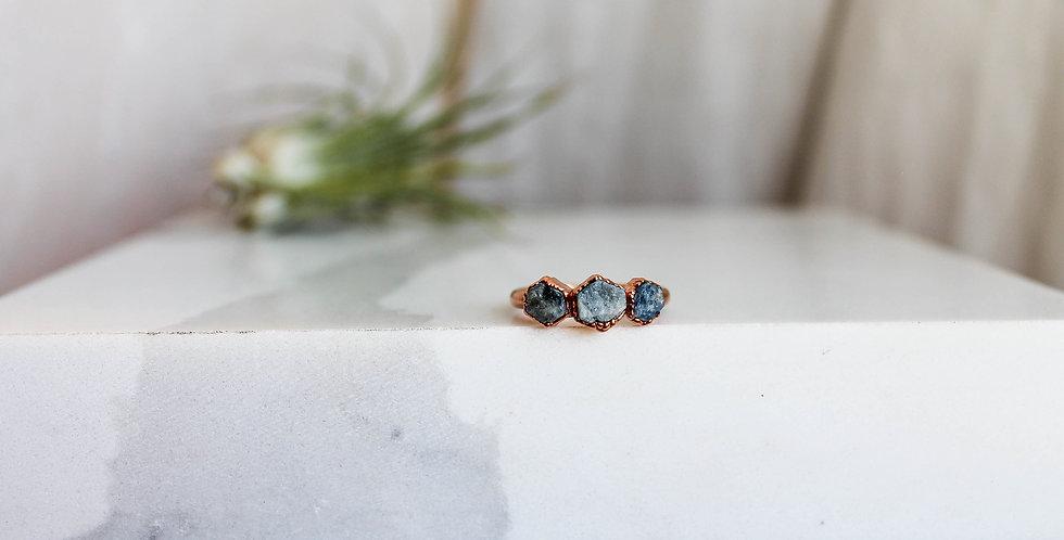 Raw Sapphire Triple Stone Ring