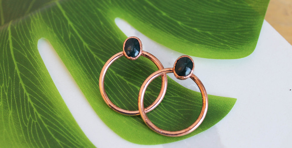 Medium Copper Hoops with Moss Agate
