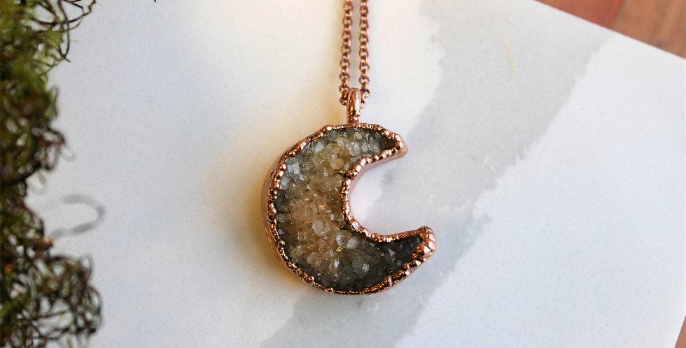 No. 114 Large Druzy Moon Copper Necklace