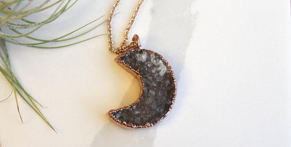 No. 128 Druzy Moon Copper Necklace