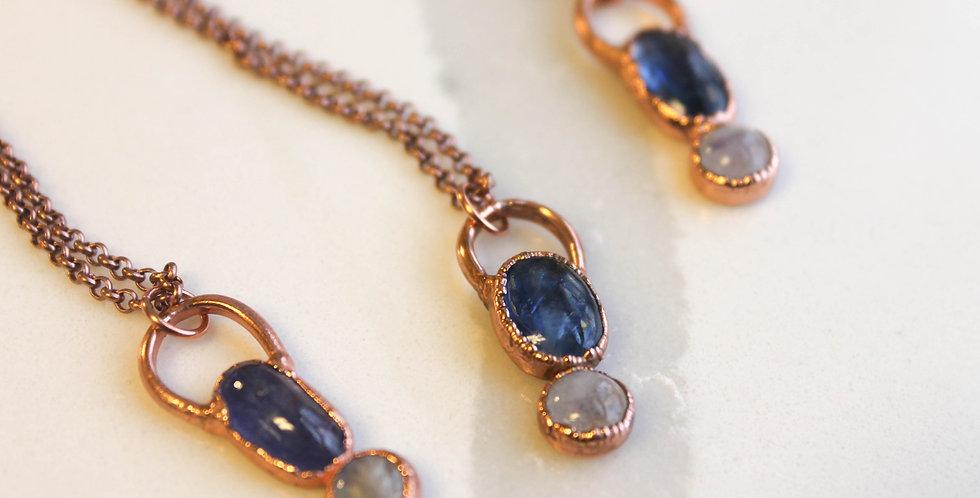 Blue Kyanite and Moonstone Pendant