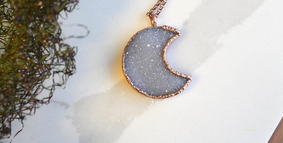 No. 113 Large Druzy Moon Copper Necklace