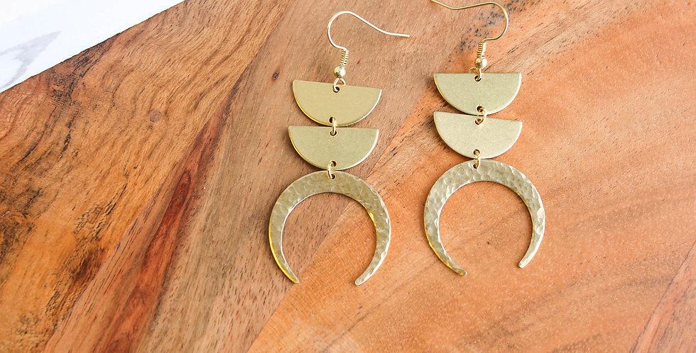 No. 144 Brass Hammered Lunar Earrings