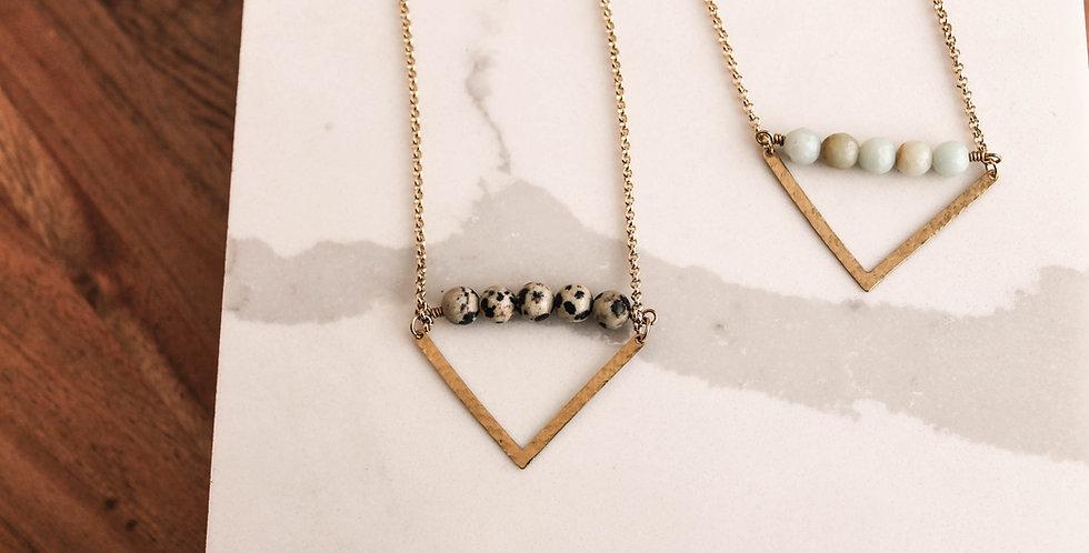 No. 173 Beaded Brass Chevron Necklace