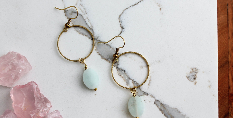 No. 142 Brass Hoop and Chrysoprase Earrings