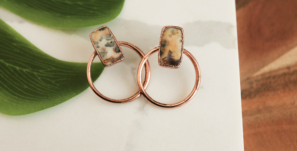 Medium Copper Hoops with Multicolored Jasper