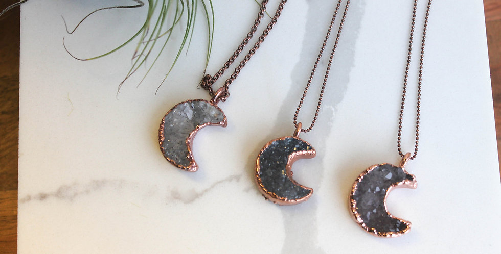 Small Druzy Moon Copper Necklace