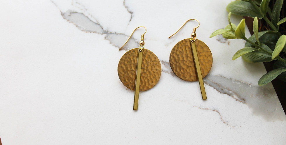 No. 186 Hammered Brass Disc and Bar Earrings