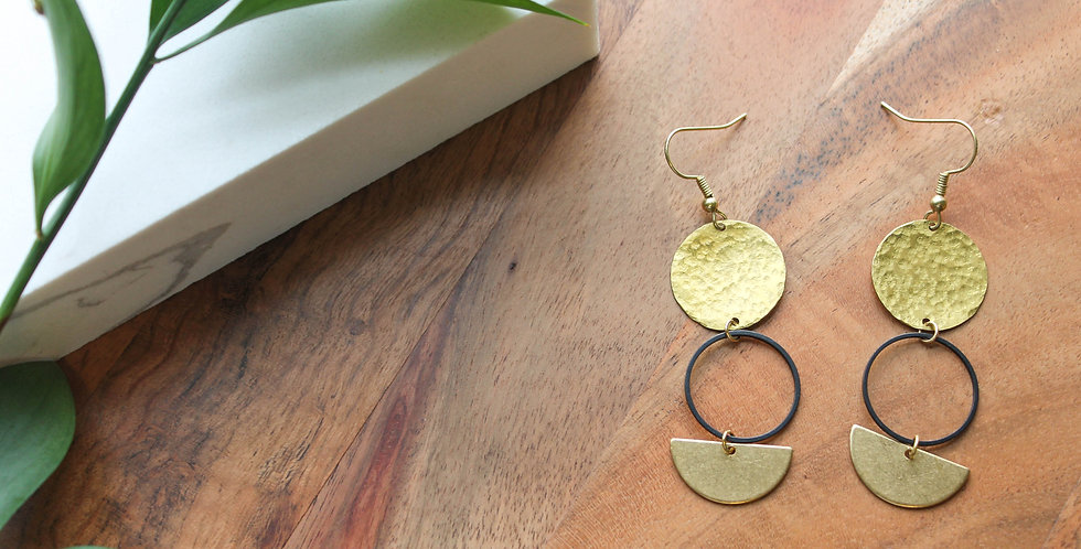 No. 176 Hammered Brass Disc and Circle Earrings