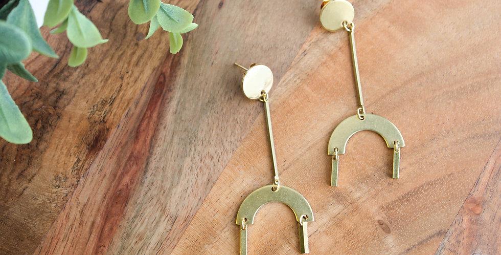 No. 115 Brass Arch Drop Earrings