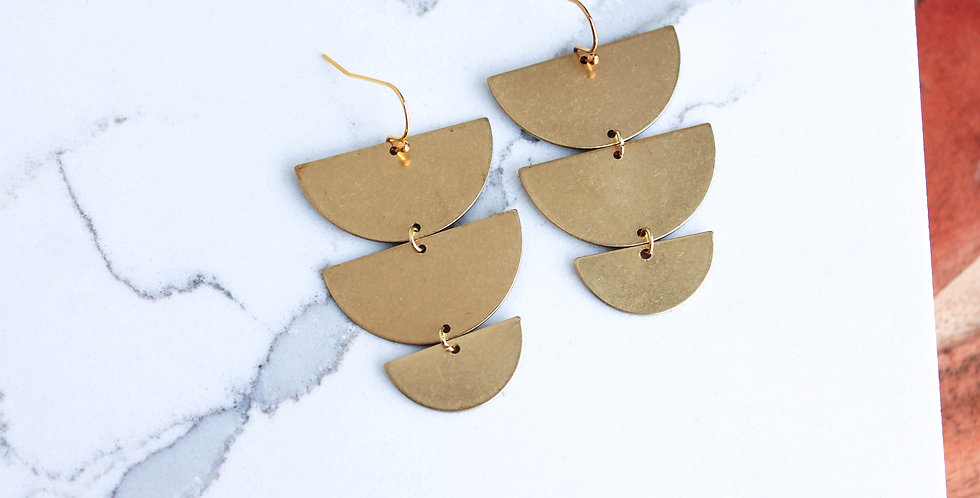 No. 145 Triple Tier Brass Earrings