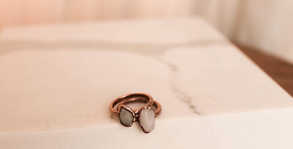 Pre-order Custom Snow Quartz Copper Electroformed Ring