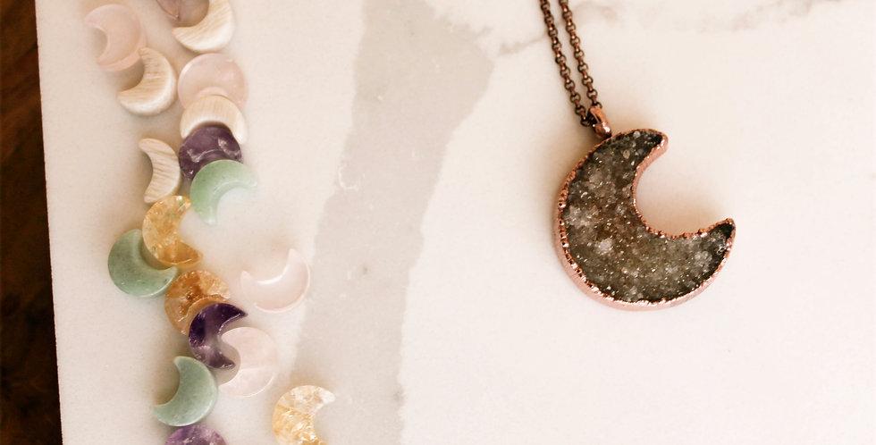 Druzy Moon Copper Necklace