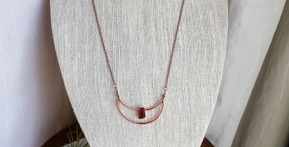 Orange Carnelian Copper Moon Necklace