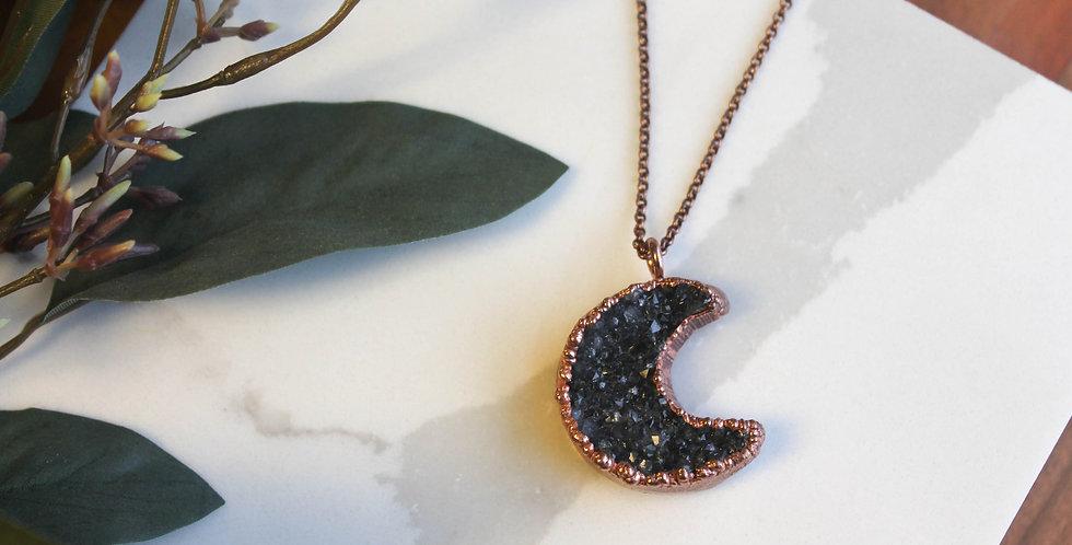 No. 115 Druzy Moon Copper Necklace